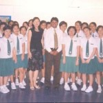 Divesh Shah with students of St. Margaret's Secondary School in Singapore